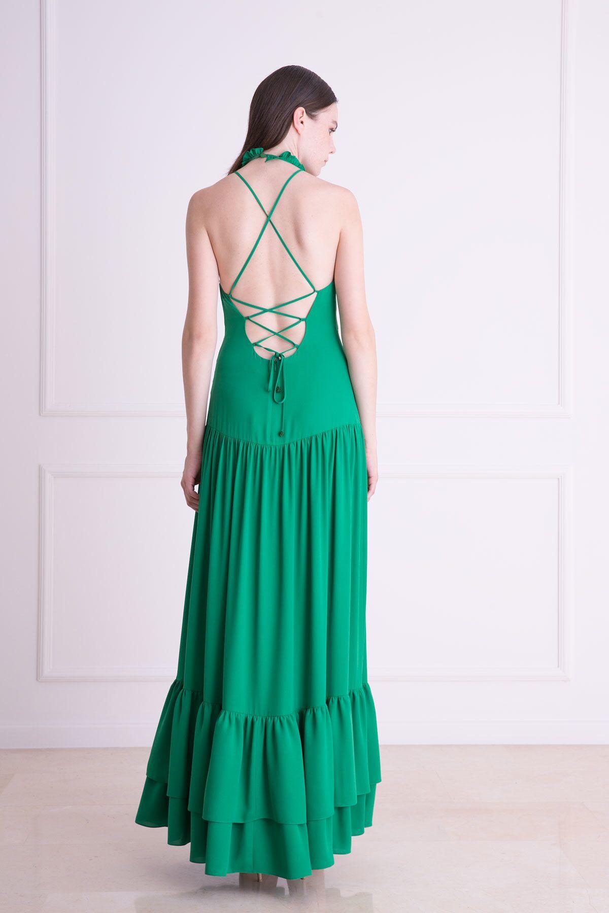 Pelerin Detaylı Yeşil Uzun Elbise