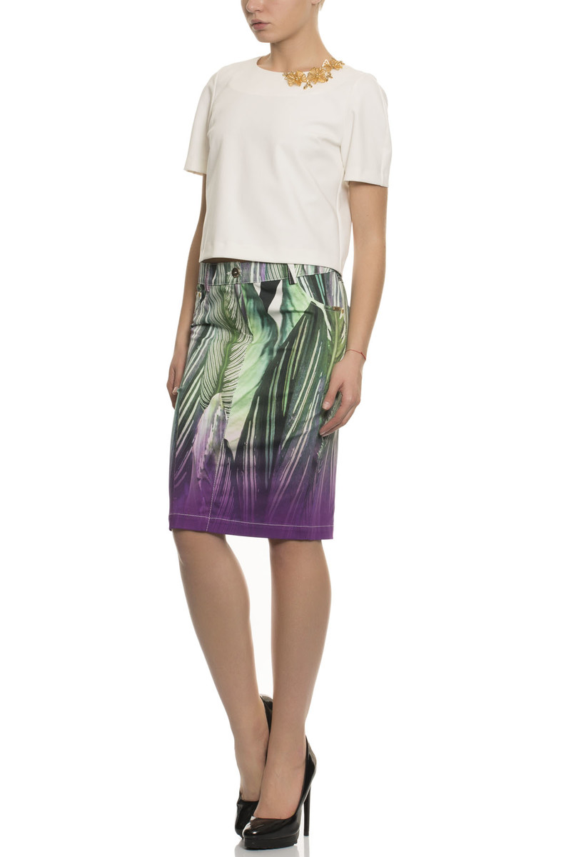 Pencil Skirt In All Over Leaf Print