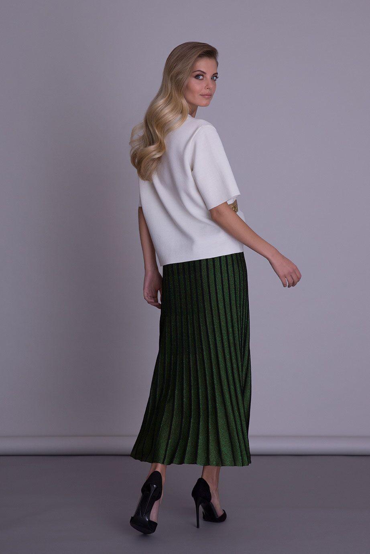 Pileli Yeşil Triko Uzun Etek
