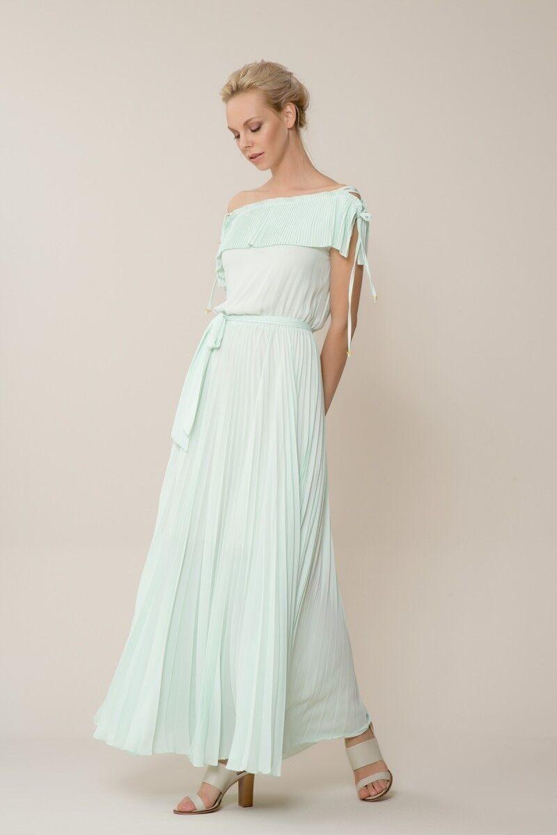 GIZIA CASUAL - Mint Yeşili Piliseli Uzun Elbise