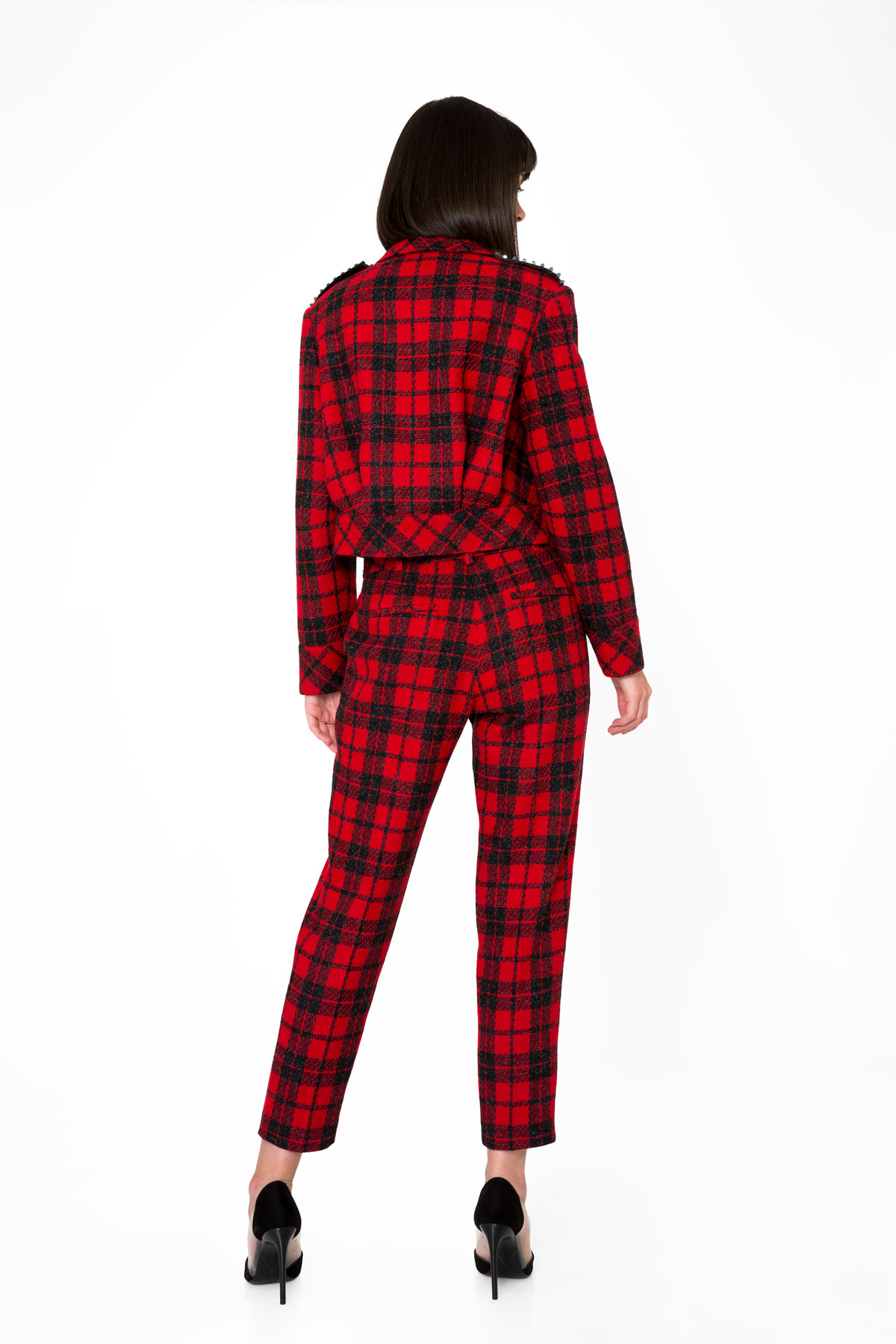 Plaid Patterned Ankle-Length Red Trousers