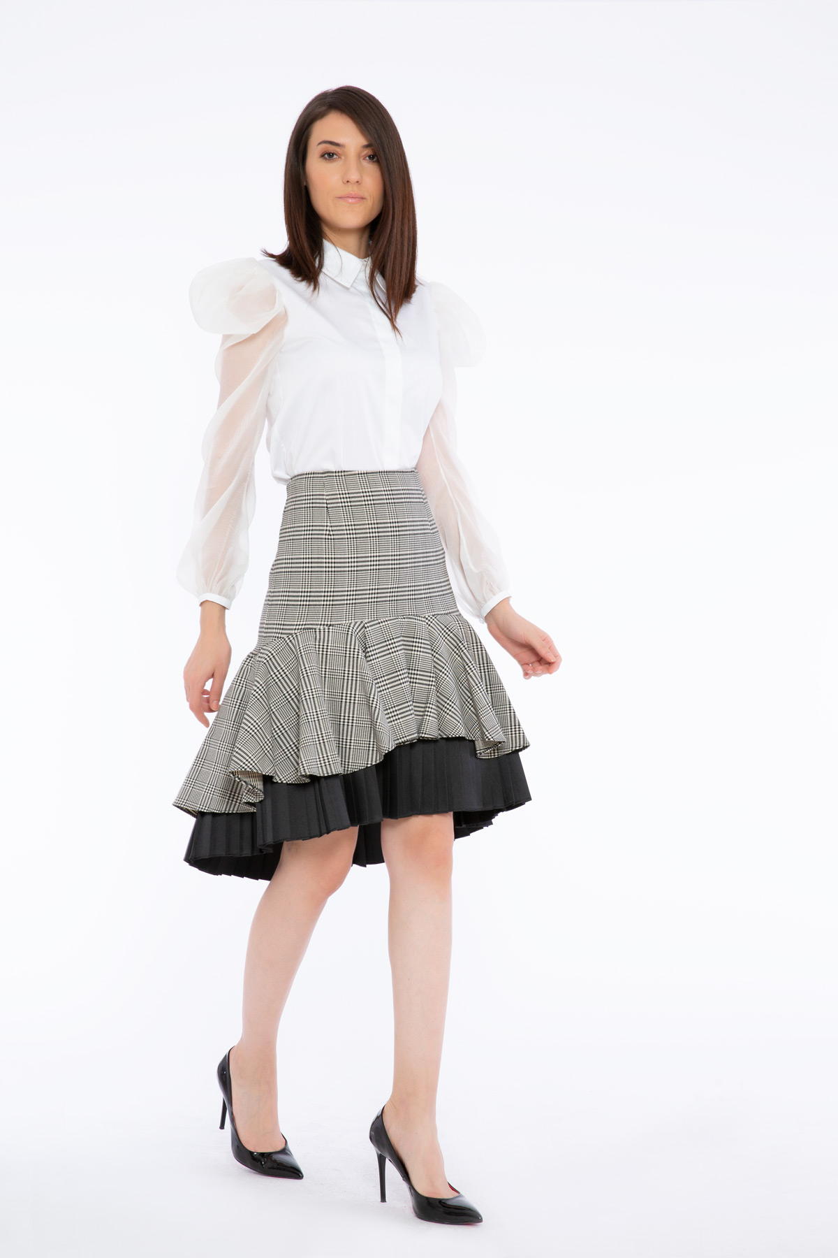 Plaid Patterned Ruffle Midi Skirt