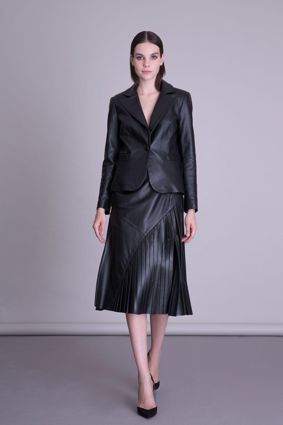 Pleated Leather Black Skirt