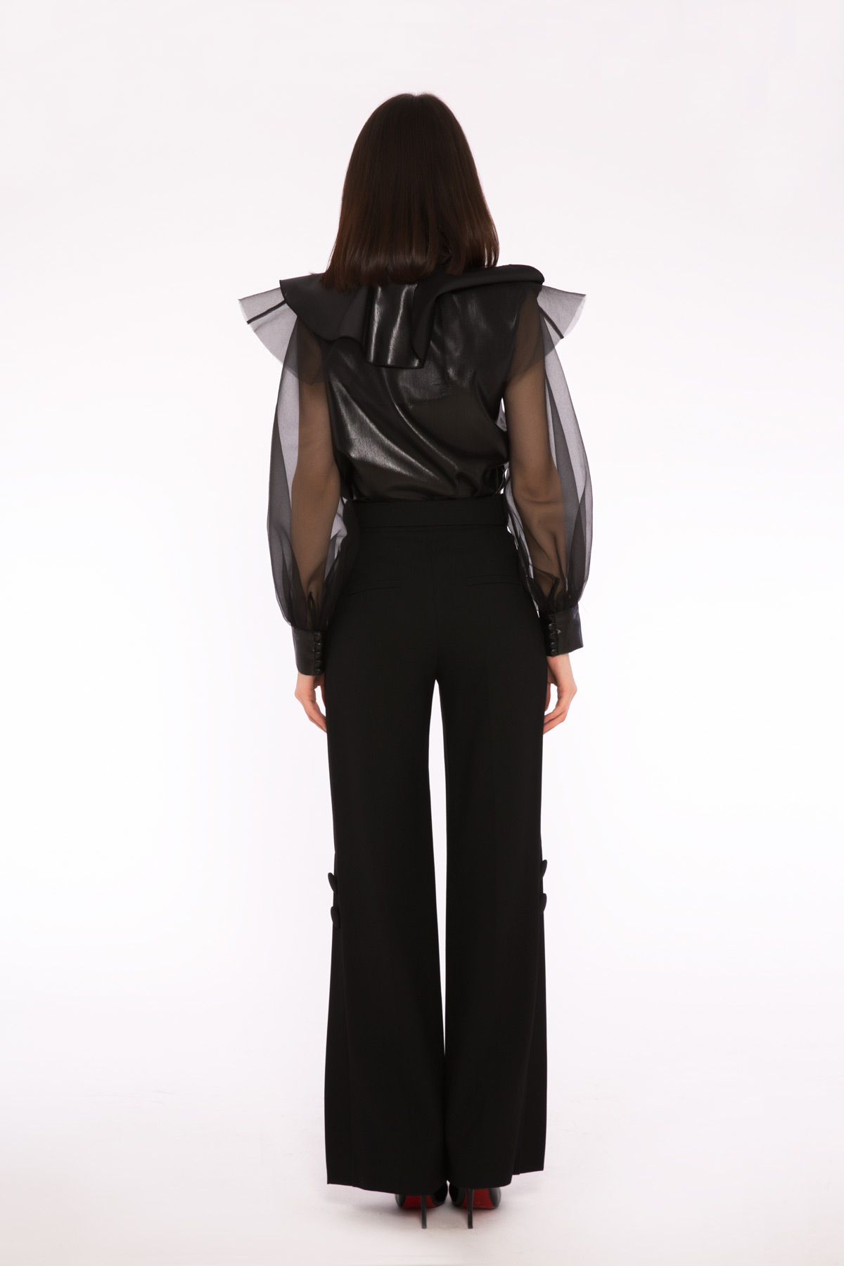 Pleated Detailed Shiny Surface Blouse With Ruffles