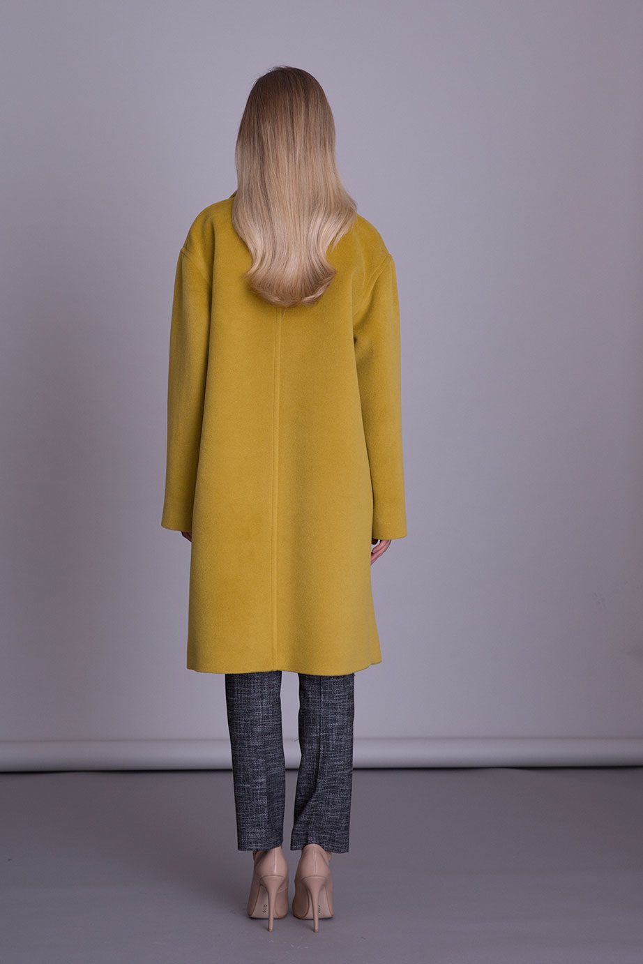 Pocket and Button Detailed Mustard Yellow Midi Coat