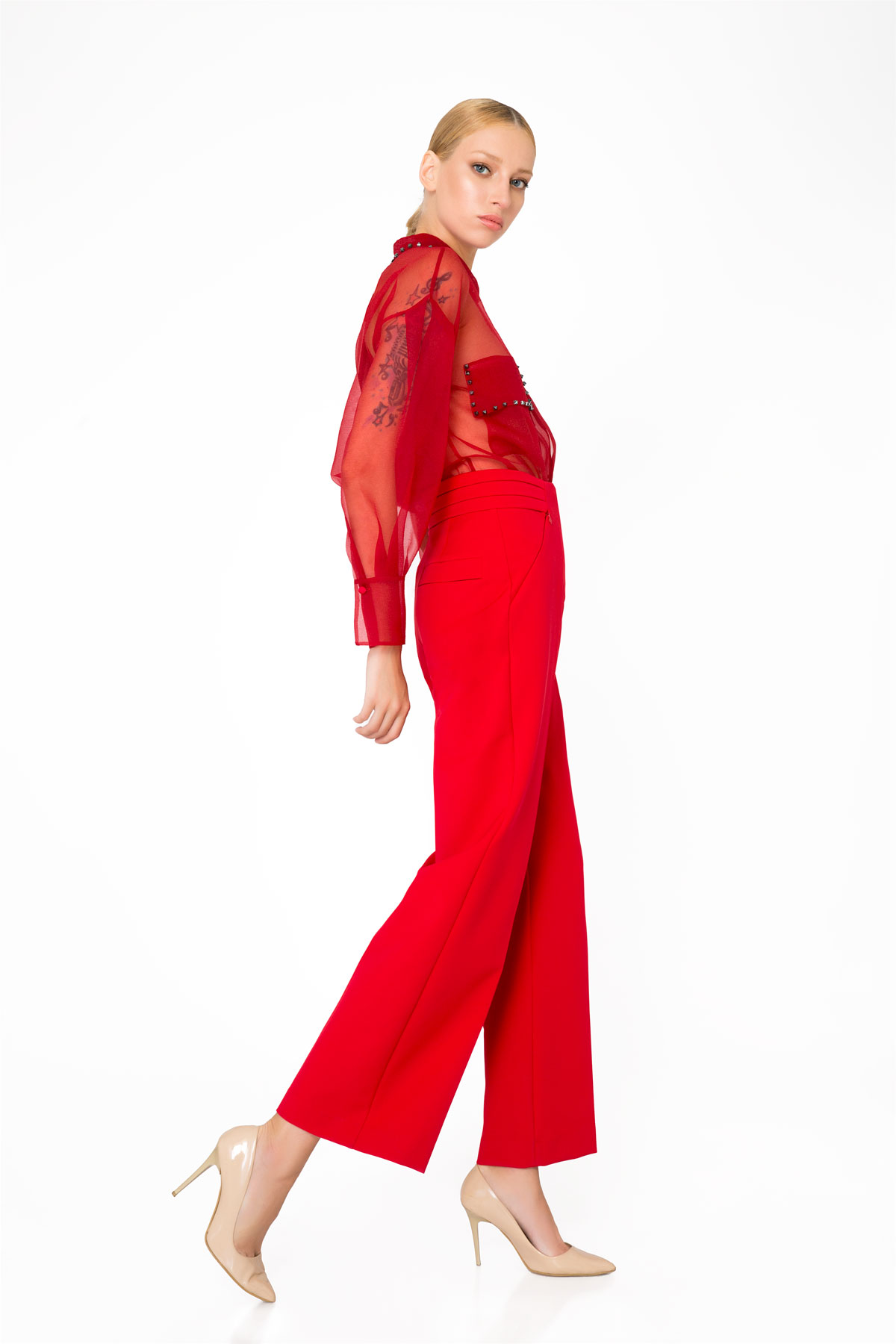 Pocket Detailed High Waist Red Trousers