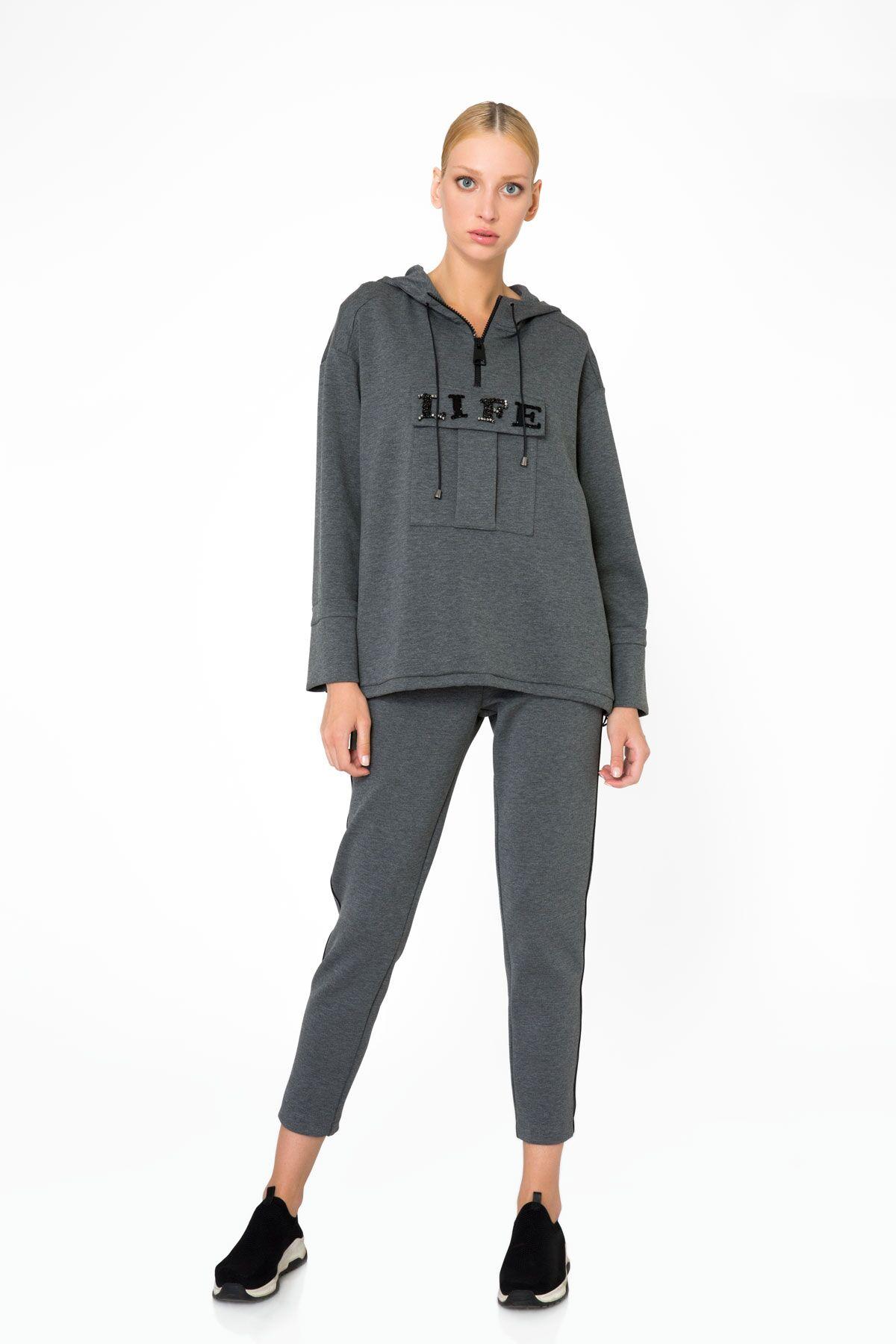Pocket Detailed Hooded Gray Sweatshirt