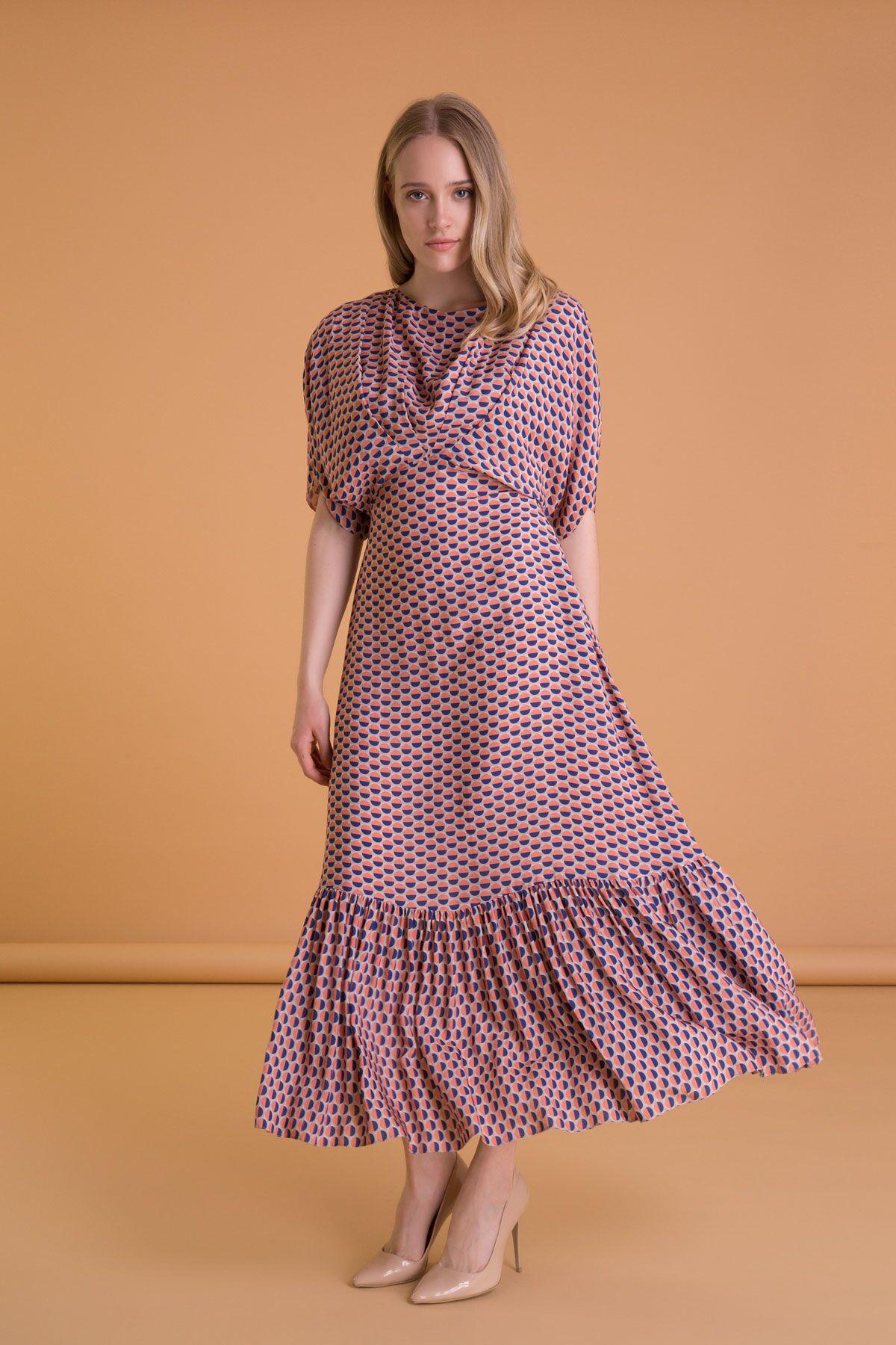 Polka Dot Back Detail Long Dress