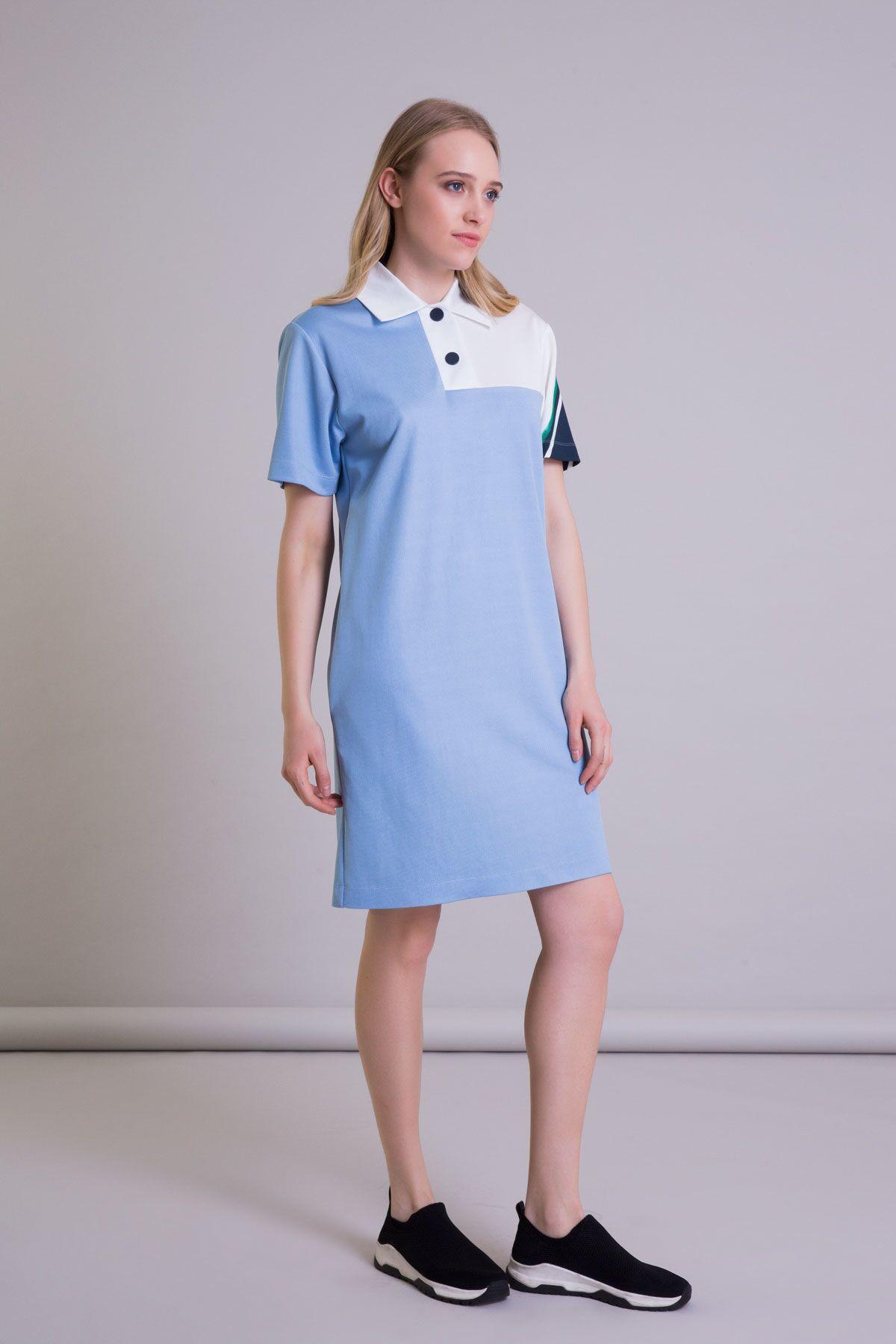 Polo Yaka Kısa Kollu Mavi Midi Elbise