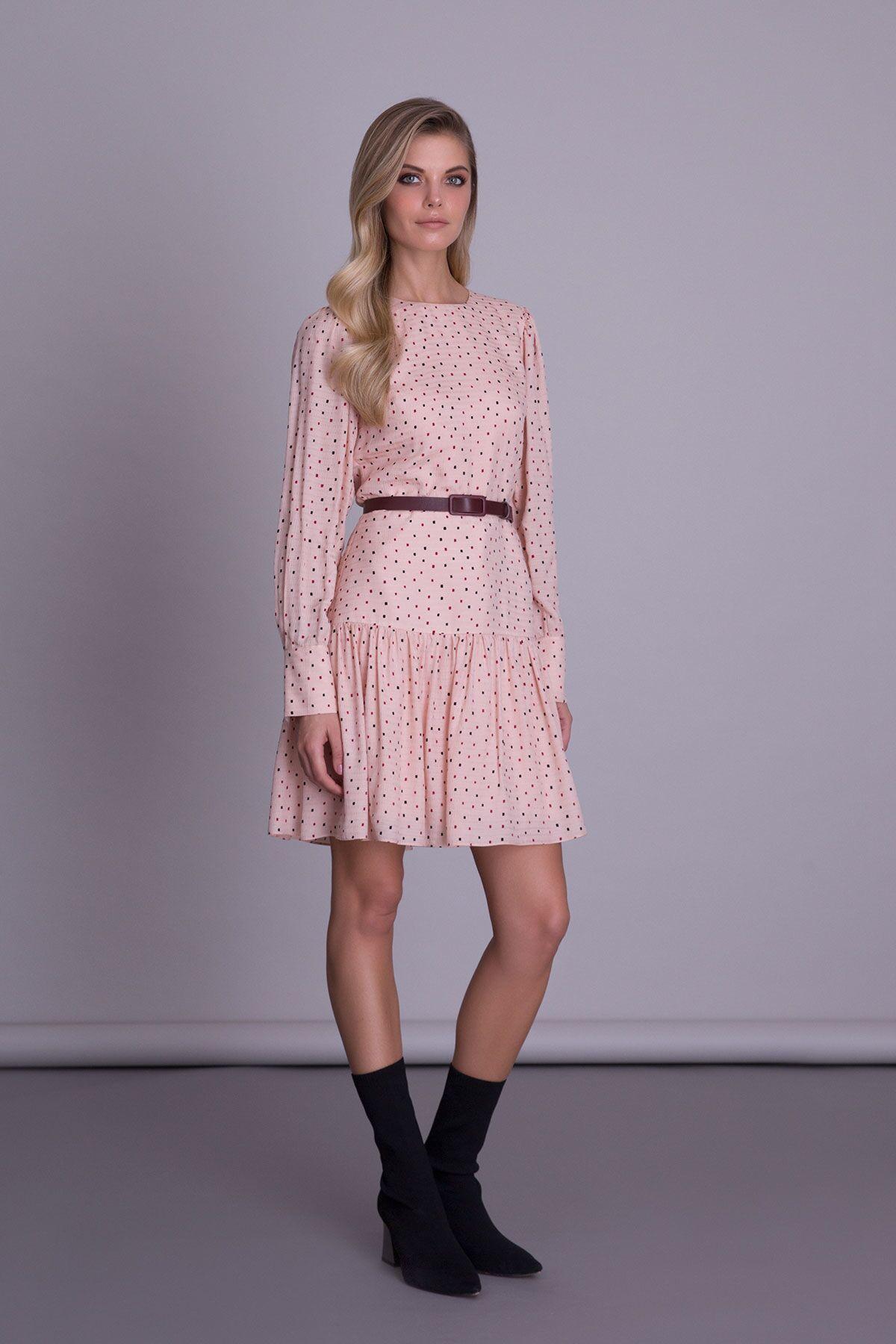 Puantiye Desenli Kemerli Pudra Renk Mini Elbise