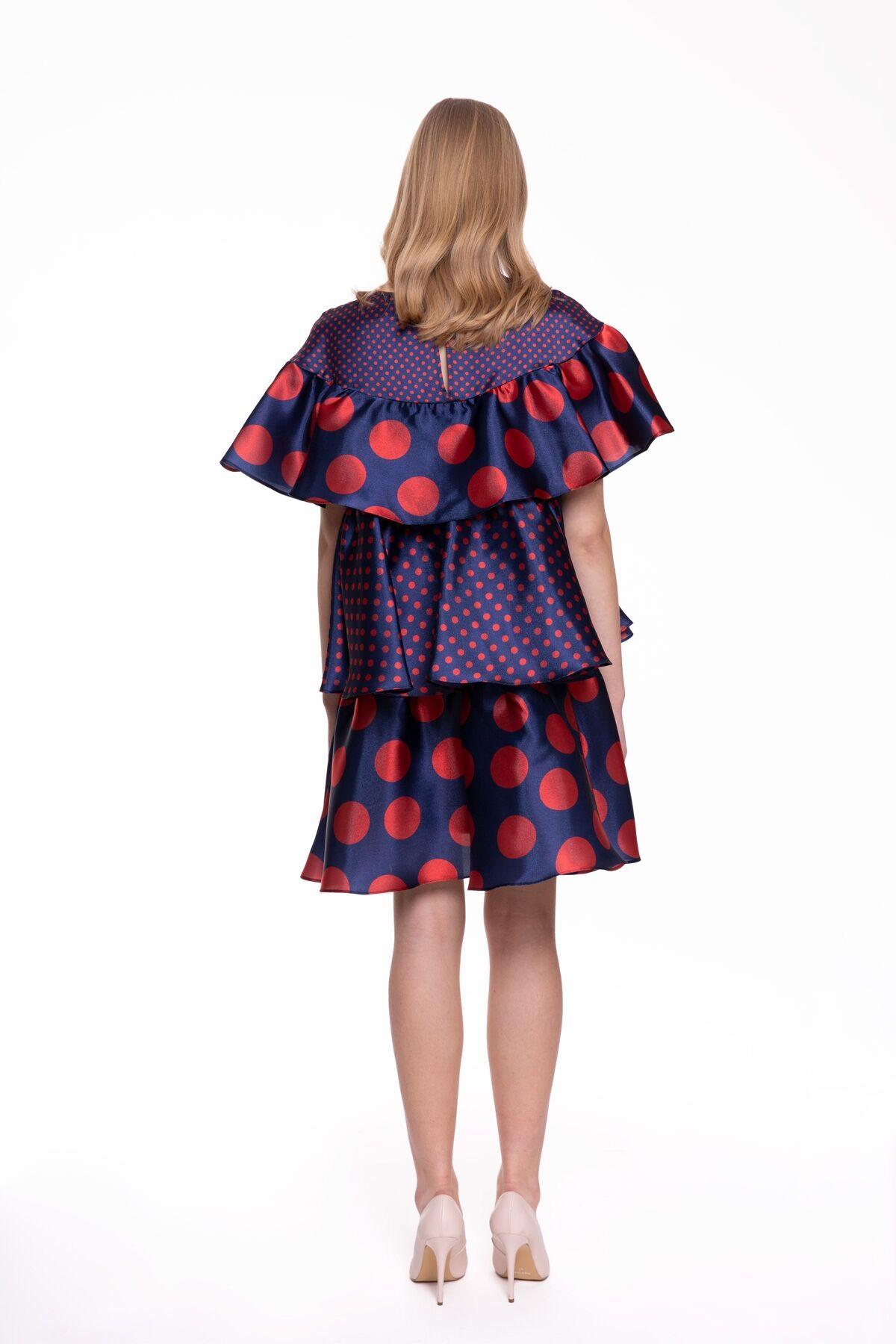 Puantiye Desenli Fırfırlı Mini Elbise