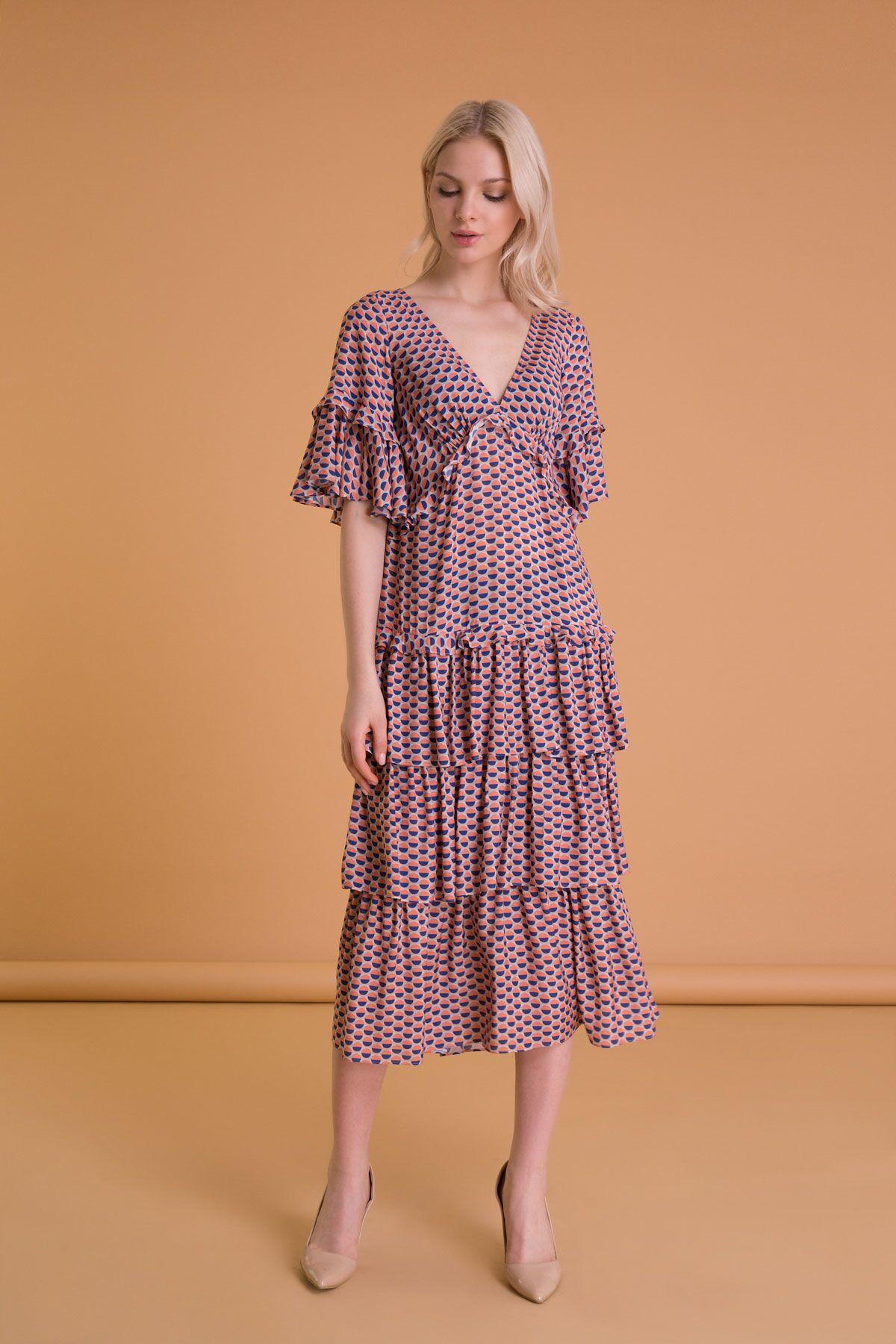 Puantiye Desen Volanlı Fırfırlı Midi Elbise