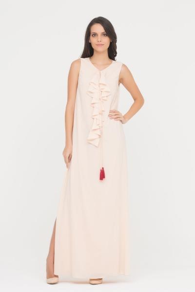 GIZIA CASUAL - Pudra Rengi Uzun Elbise