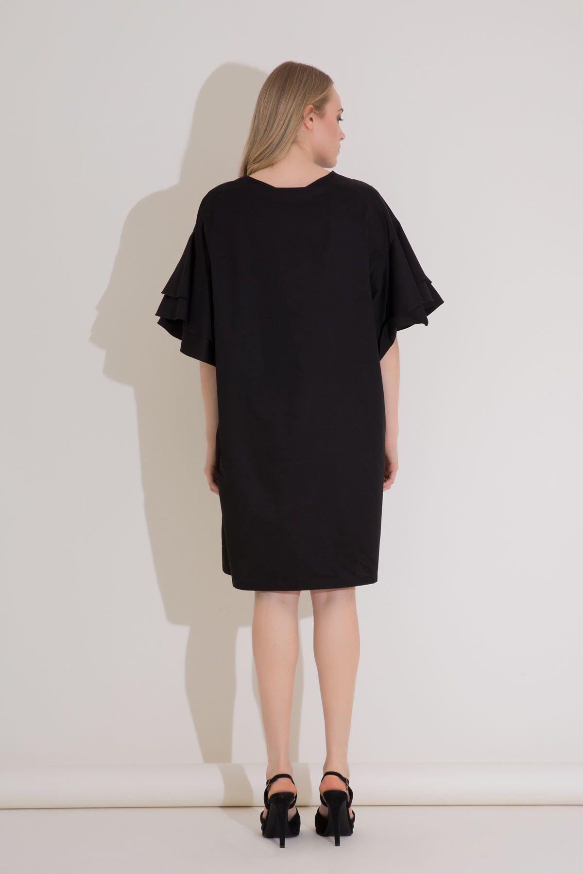 Pul Boncuk İşleme Volanlı Kollu Poplin Elbise