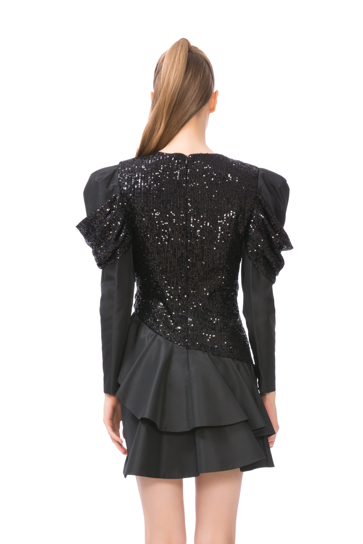 Pul Payet Detaylı Jüliet Kol Mini Siyah Elbise