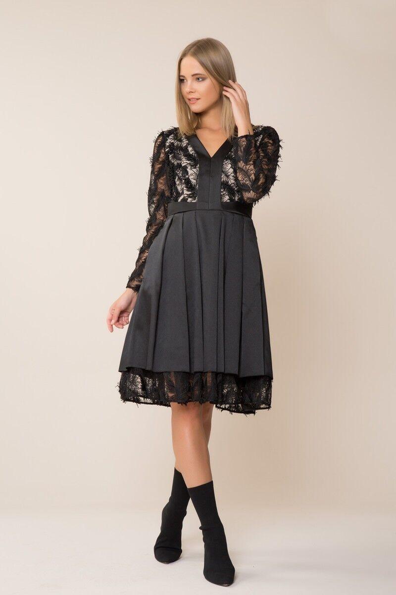 GIZIA - Püskül Detaylı Siyah Elbise