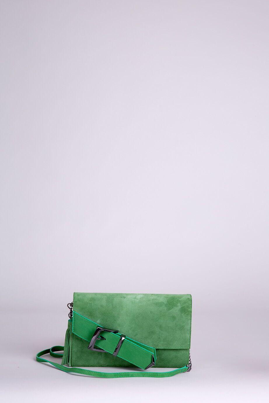Püskül Detaylı Yeşil Deri El Çantası