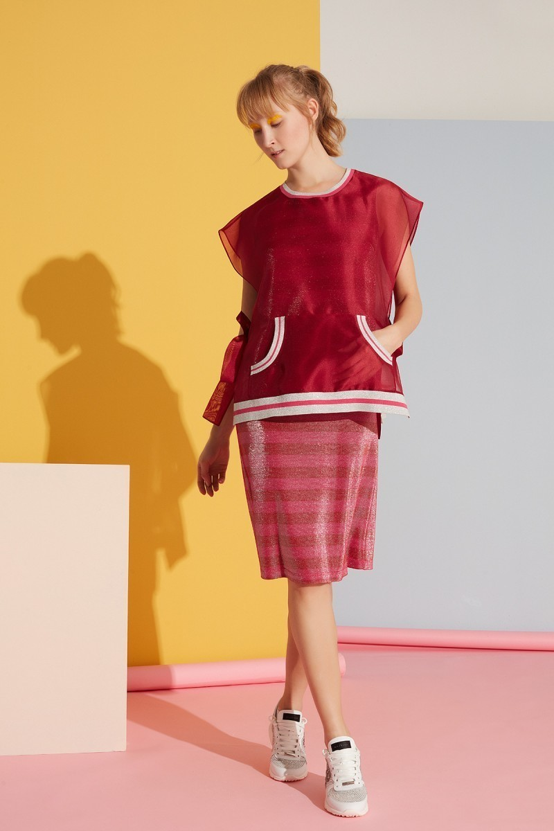Red Dress with Stripe Detail