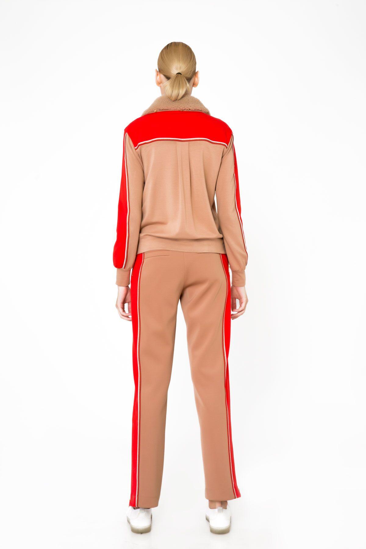 Red Stripe Detailed Zipper Sweatshirt