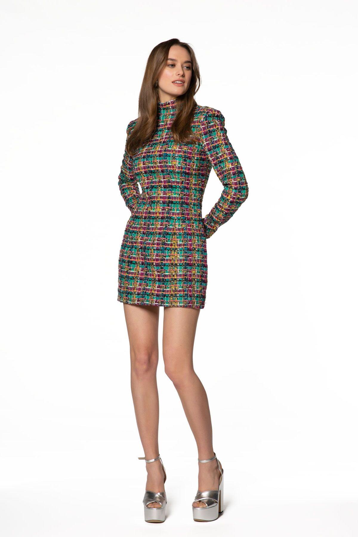 Renkli Ekose Desenli Mini Elbise