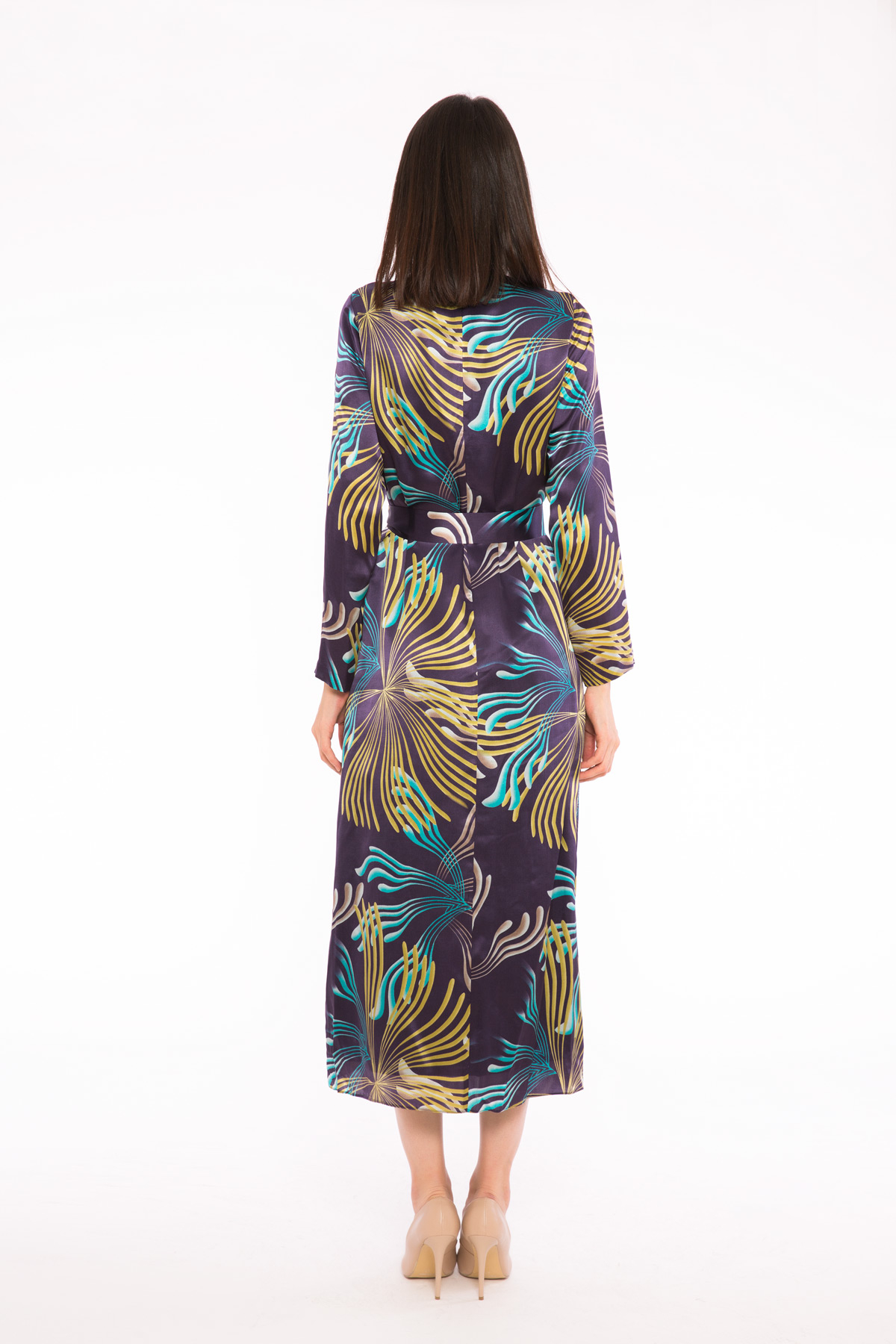 Renkli Desenli Kuşaklı Uzun Elbise