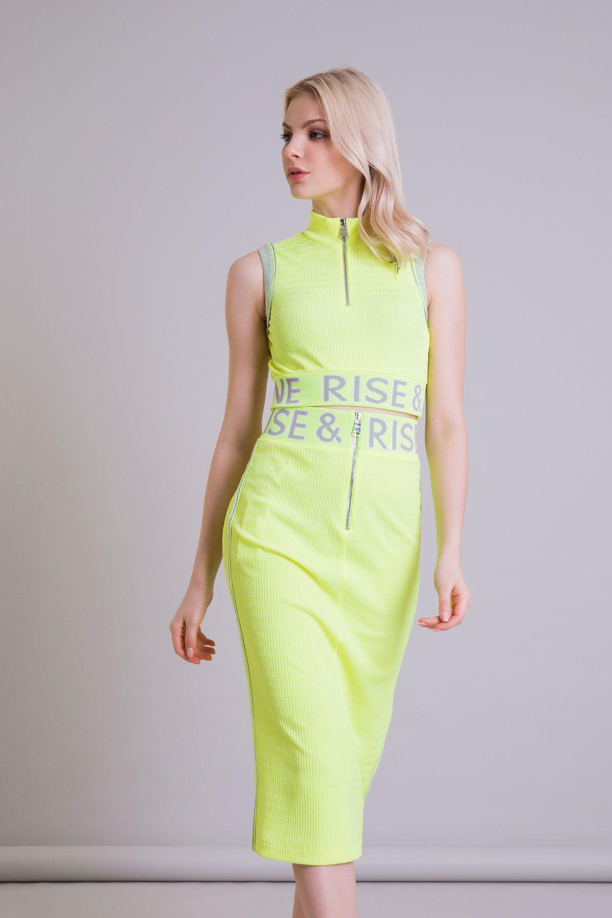 Rise Shine Şeritli Neon Sarı Midi Etek