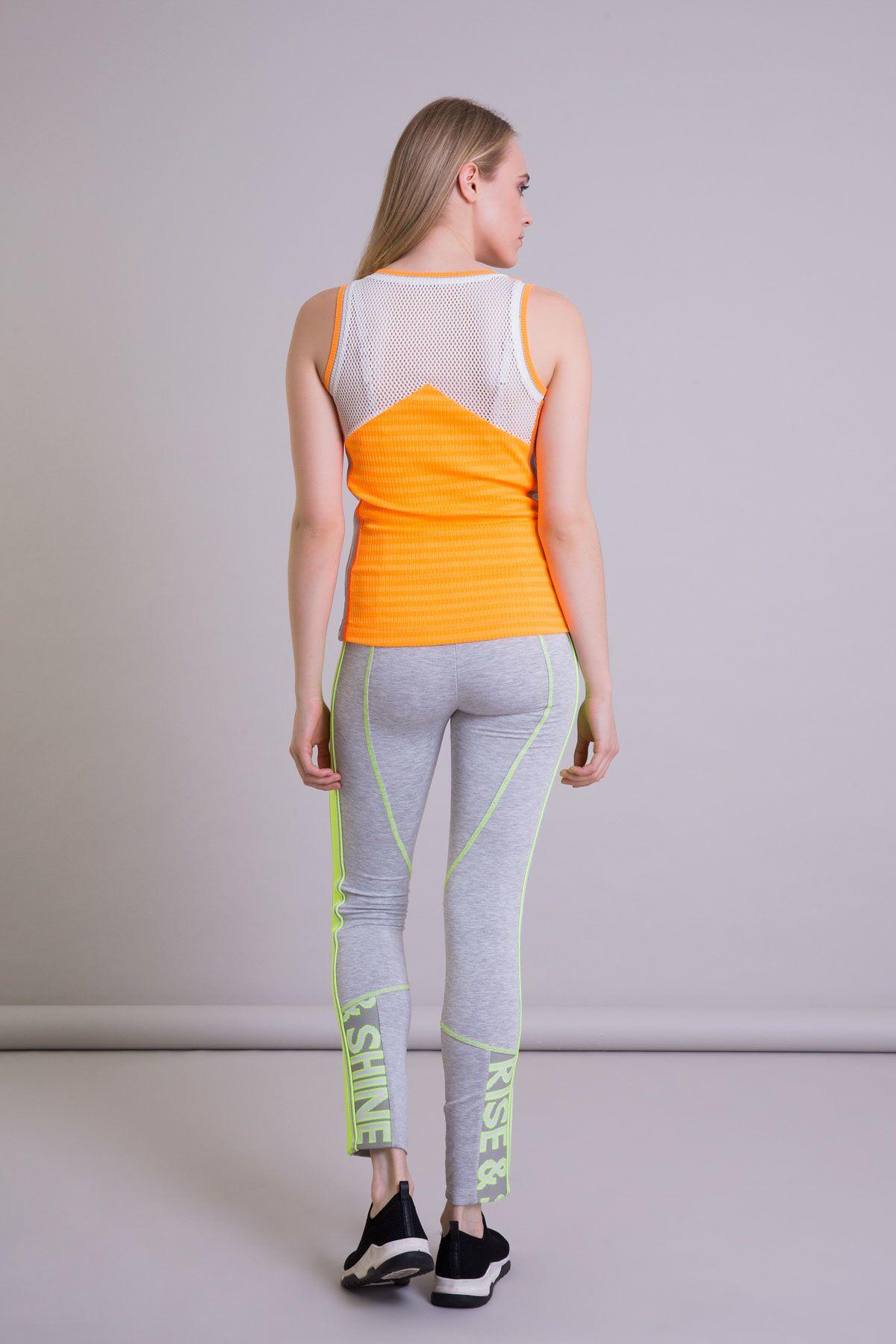 Rise Shine Şeritli Neon Turuncu Atlet