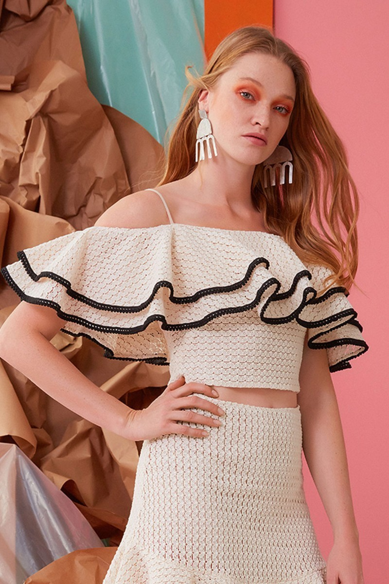 Rope Lacing Guipure and Ruffle Detailed Blouse