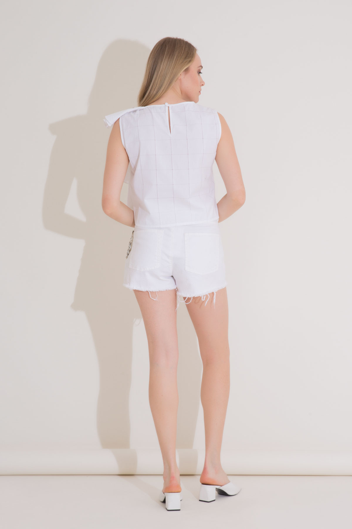 Ruffle Detailed Embroidered White Poplin Blouse