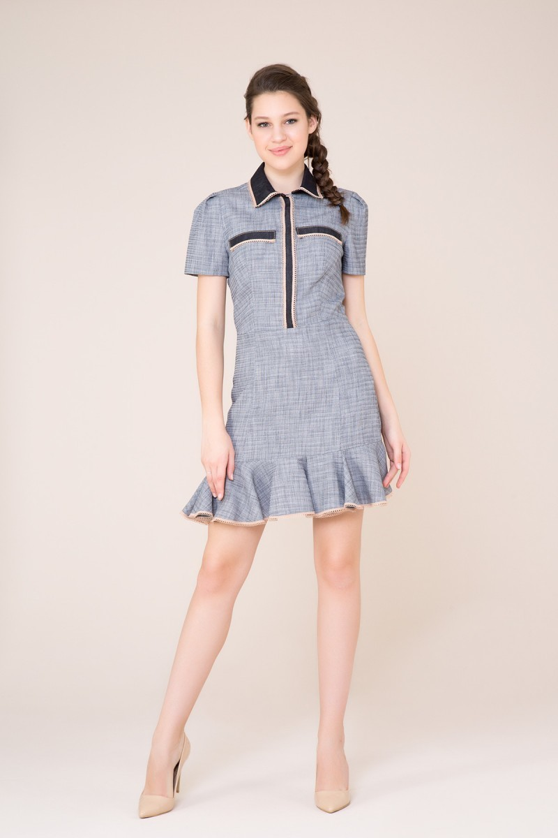 Ruffle Detailed Mini Navy Blue Dress