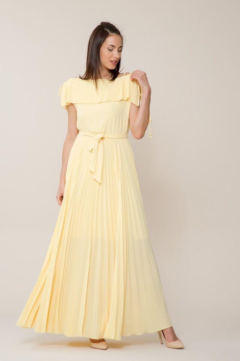Sarı Pilise Uzun Elbise