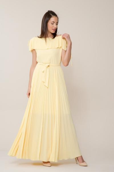 GIZIA CASUAL - Sarı Pilise Uzun Elbise