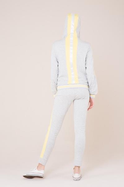 GIZIA SPORT - Sarı Şerit Detaylı Gri Spor Pantolon