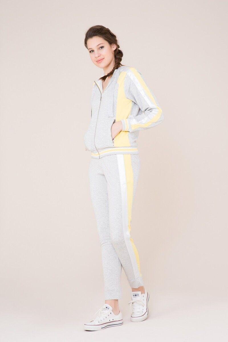 Sarı Şerit Detaylı Gri Spor Pantolon