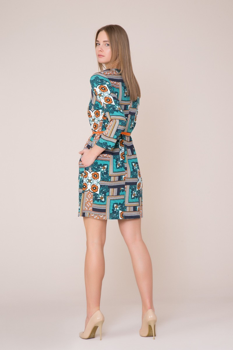 Sash Detailed Patterned Mini Dress