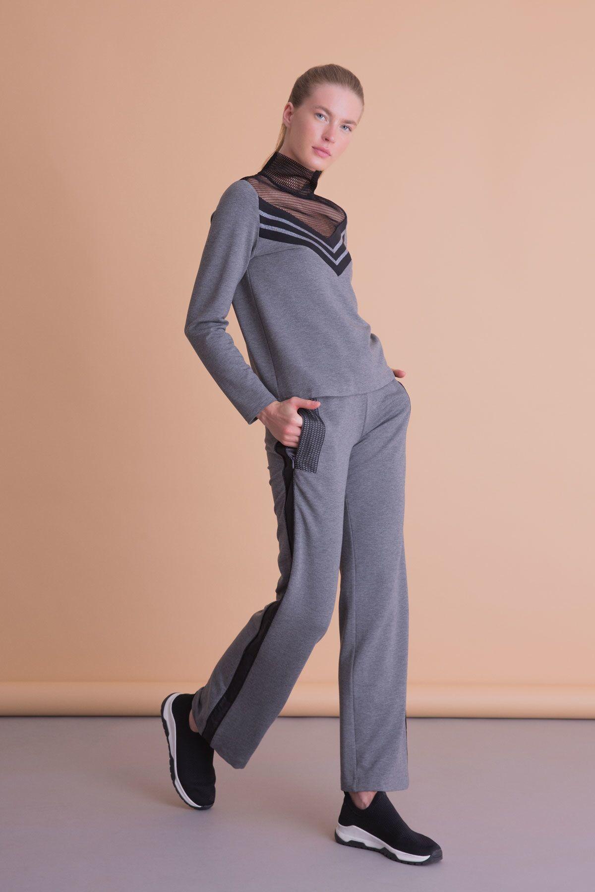 Şerit Detaylı Antrasit Gri Bol Paça Spor Pantolon