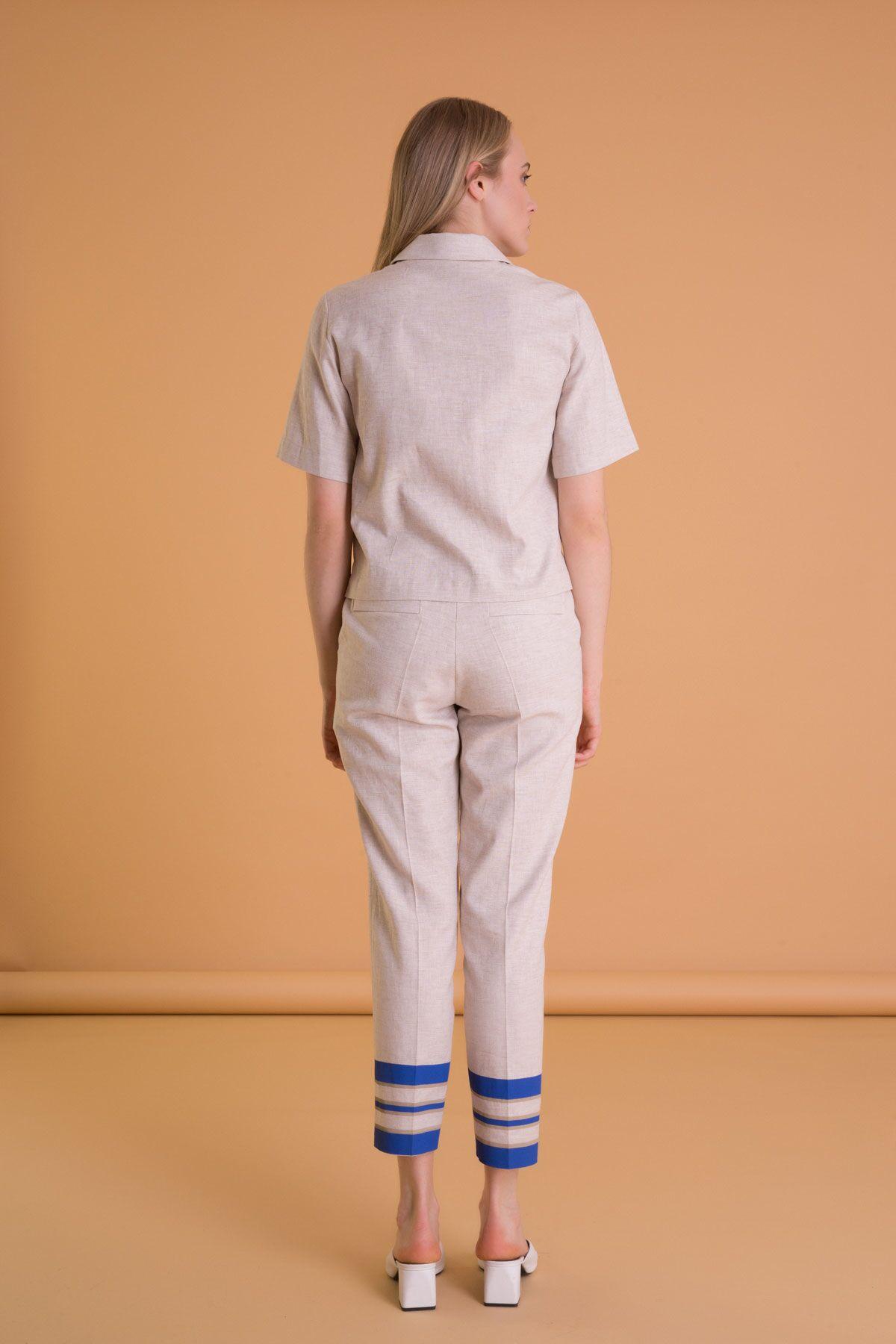 Şerit Detaylı Bilek Boy Bej Kumaş Pantolon
