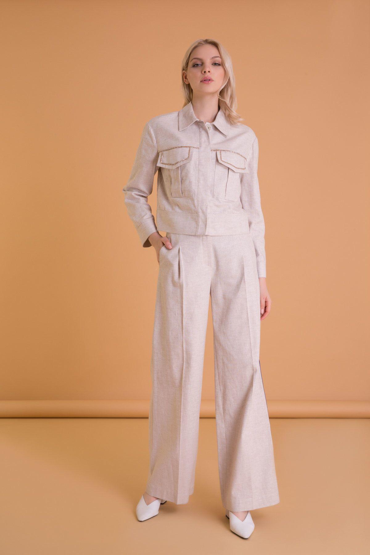 Şerit Detaylı Bol Paça Bej Pantolon