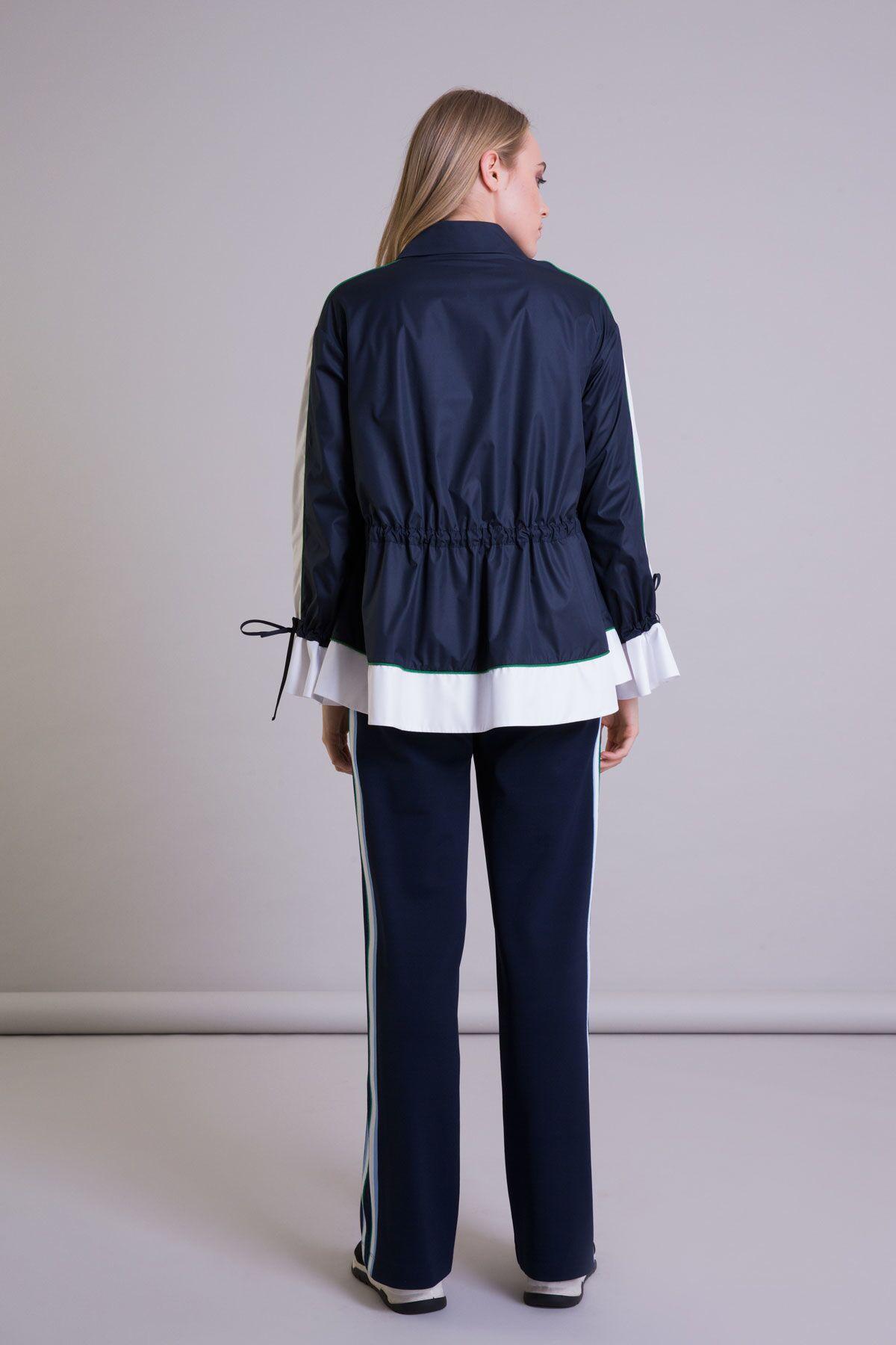 Şerit Detaylı Bol Paça Lacivert Pantolon
