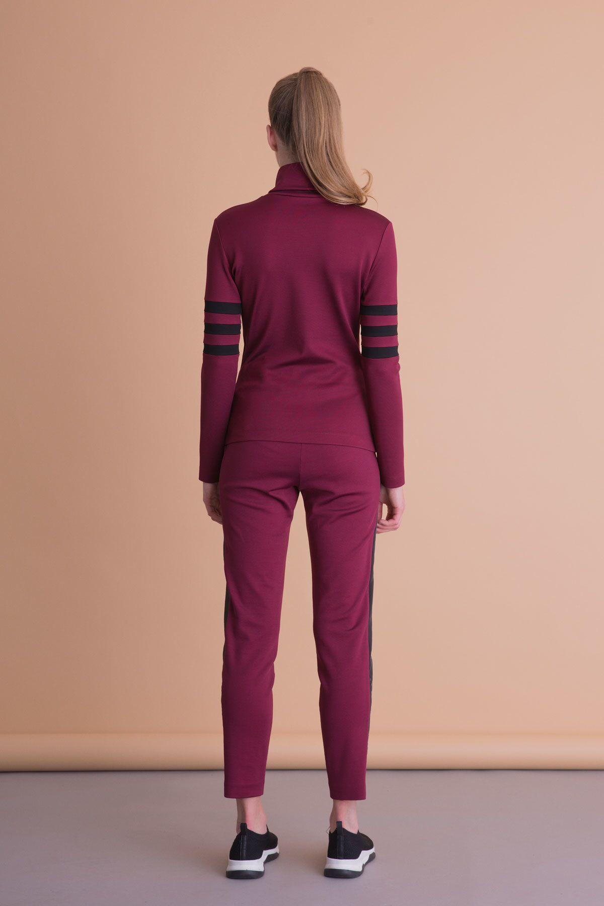 Şerit Detaylı Bordo Spor Pantolon