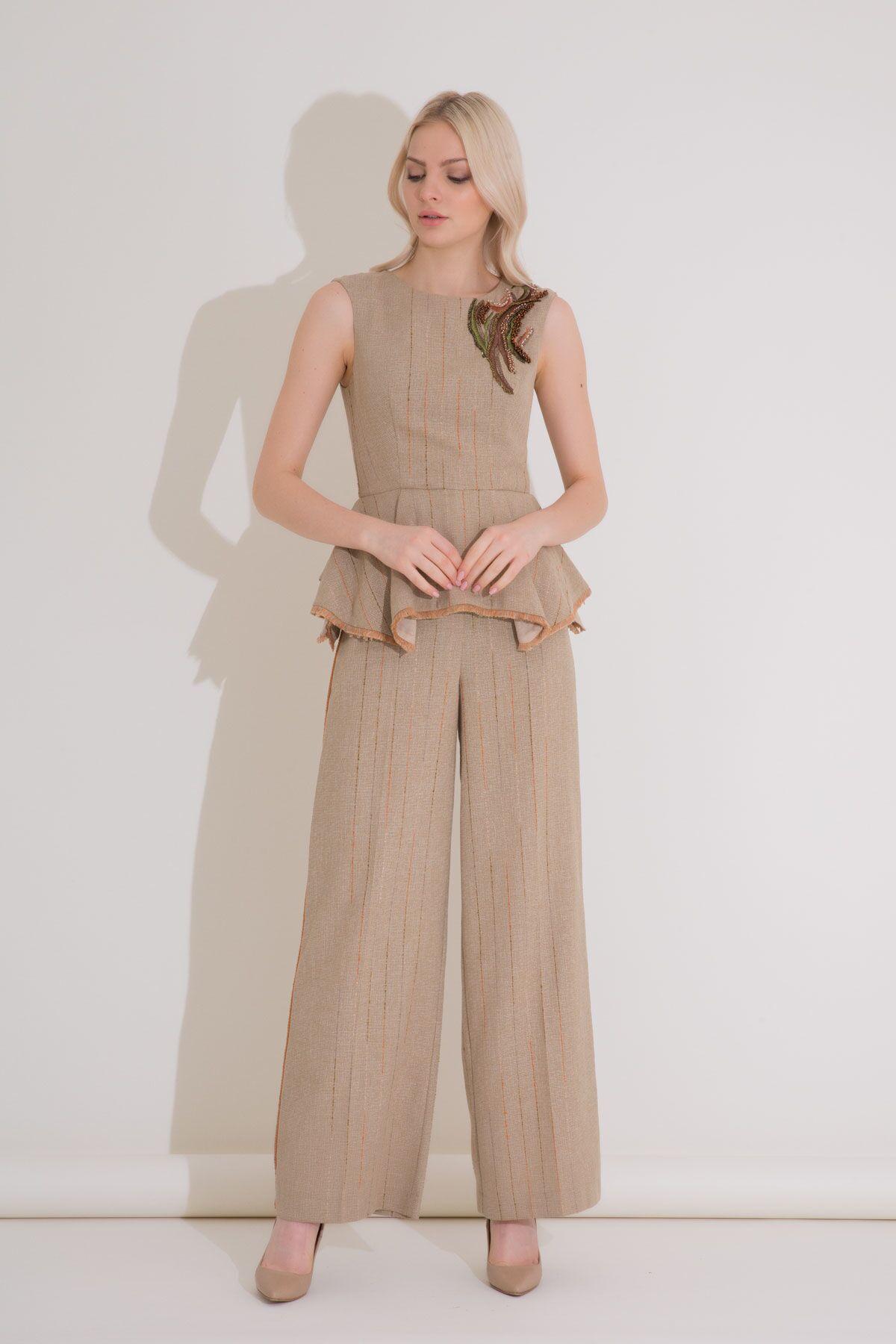 Şerit Detaylı Çizgili Geniş Paça Kahverengi Pantolon