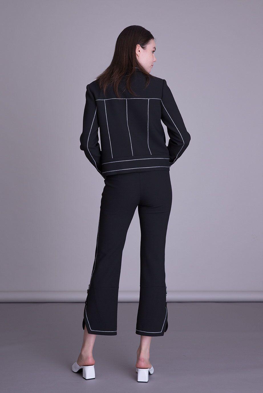 Şerit Detaylı Fermuarlı Siyah Kumaş Ceket