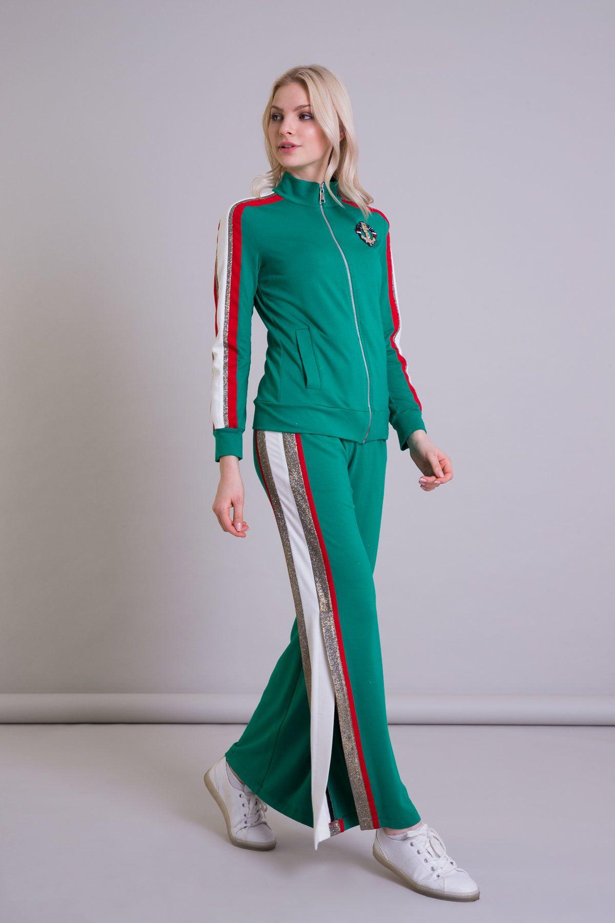 Şerit Detaylı Geniş Paça Yeşil Spor Pantolon