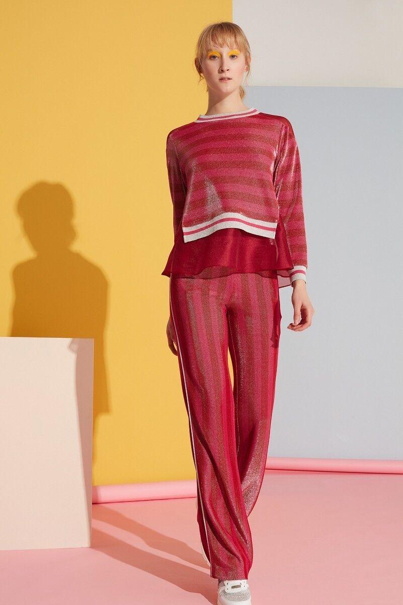 Şerit Detaylı Kırmızı Spor Pantolon