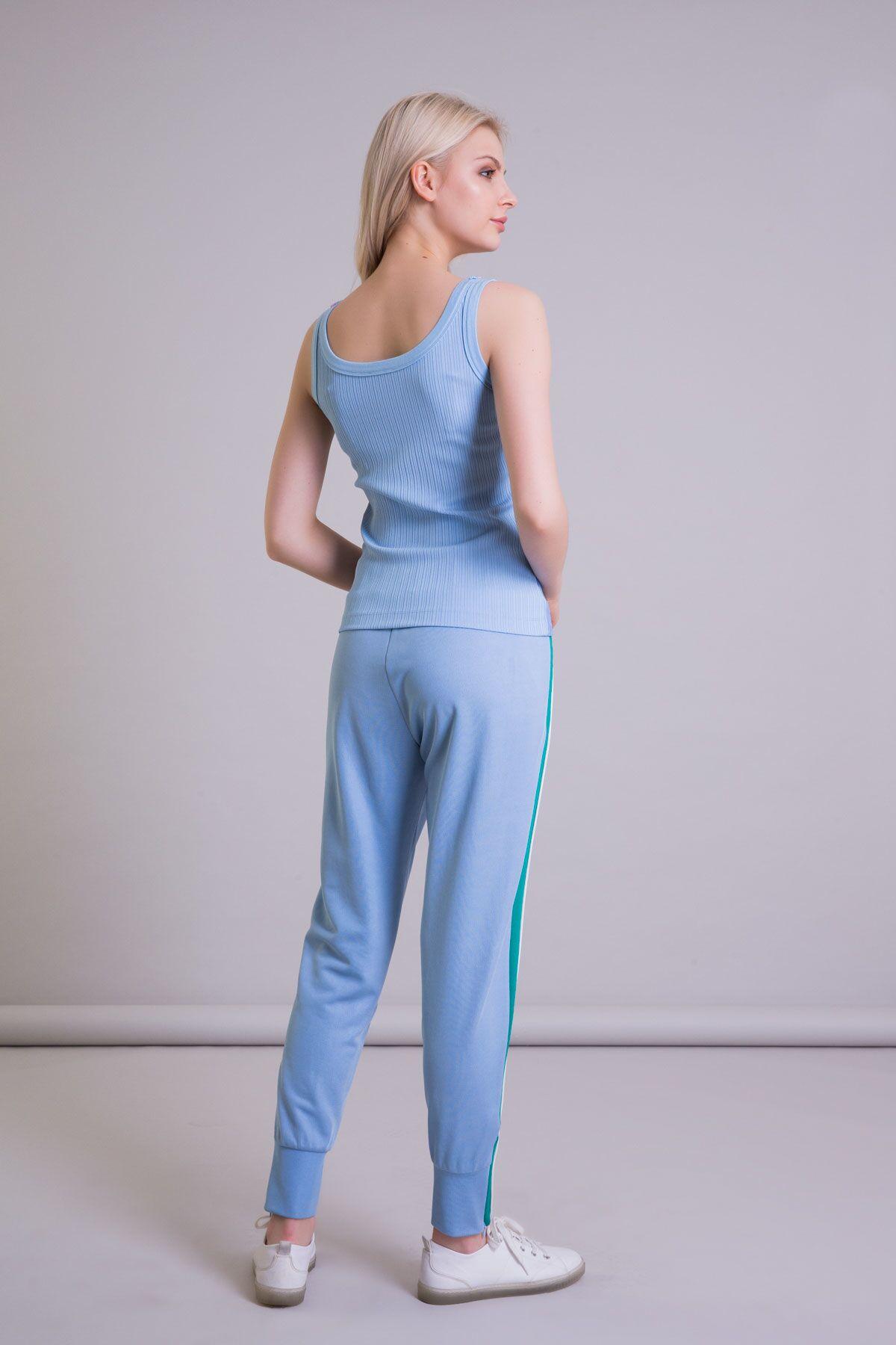 Şerit Detaylı Mavi Jogger Pantolon