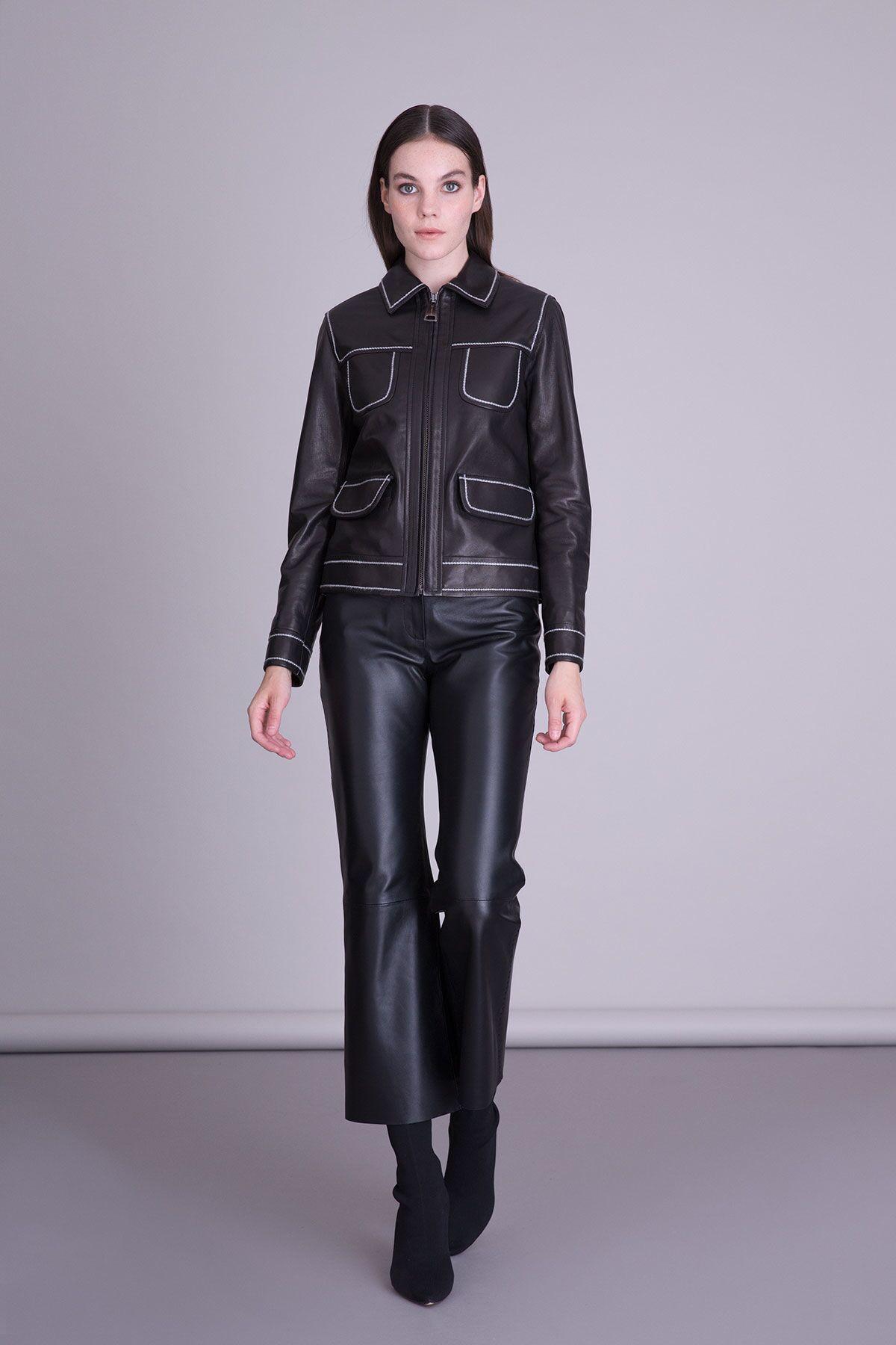 Şerit Detaylı Siyah Deri Ceket