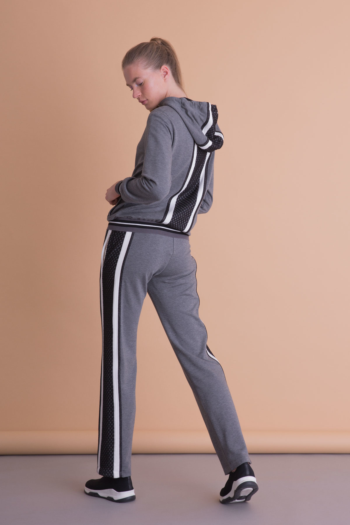 Şerit File Detaylı Antrasit Gri Spor Pantolon