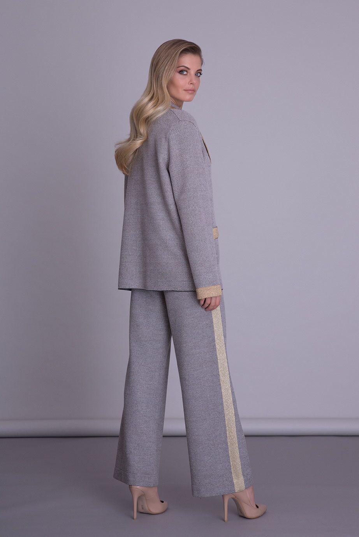 Şerit Detaylı Bol Paça Gri Triko Pantolon