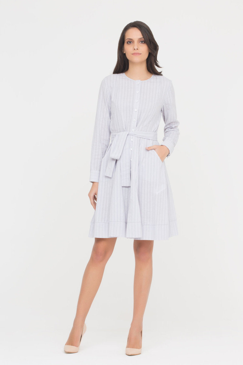 Shirt Dress With Front Ribbon