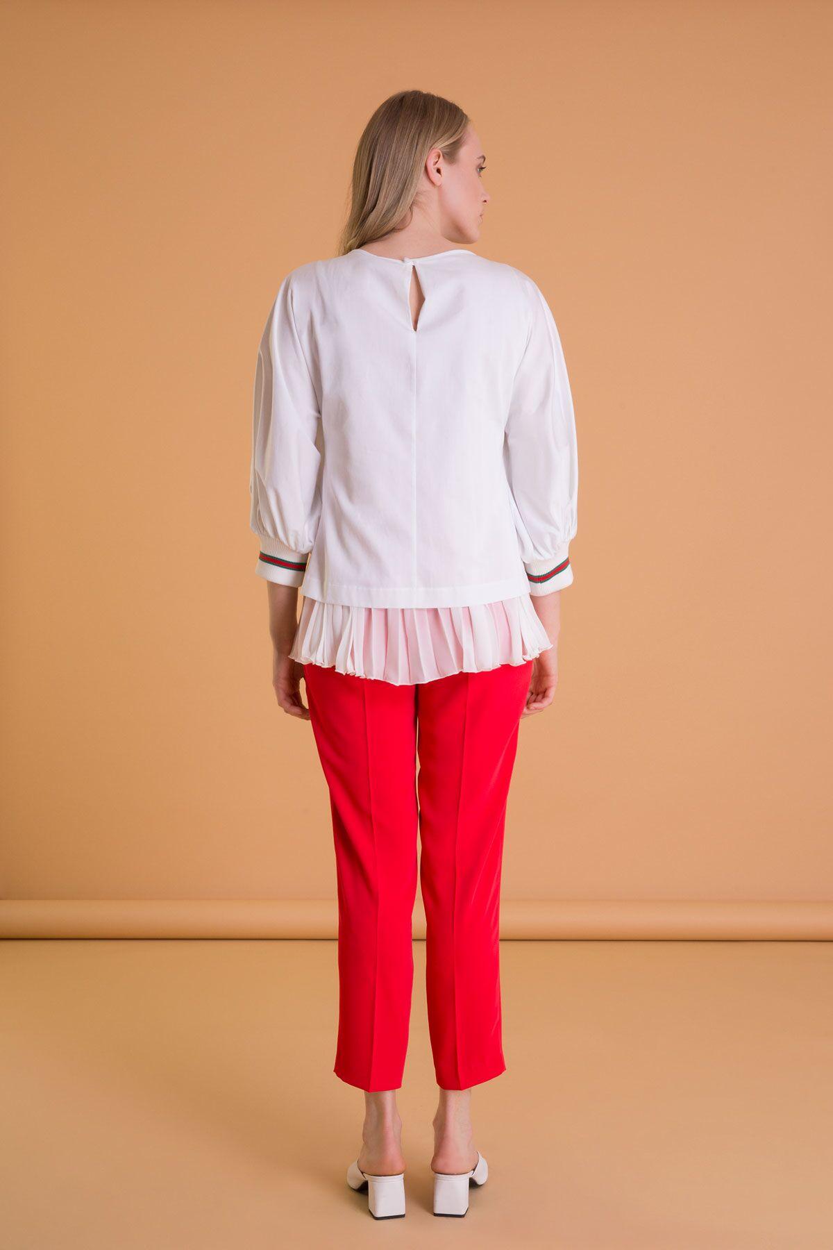 Şifon Pilise Garnili Nakış Detaylı Beyaz Bluz